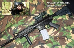 Zbraň APS M4A1 RIS EBB Full Metal s optikou ACOG 4x32 - R.I.S. 22mm (G&P)